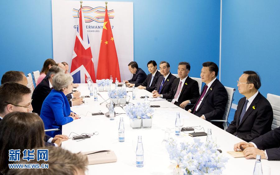 7月7日,國家主席習近平在漢堡會見英國首相特雷莎·梅。 新華社記者李學仁 攝