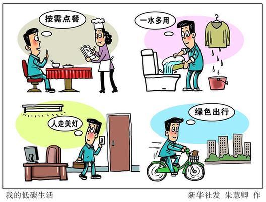 (圖表·漫畫)[新華時評]我的低碳生活