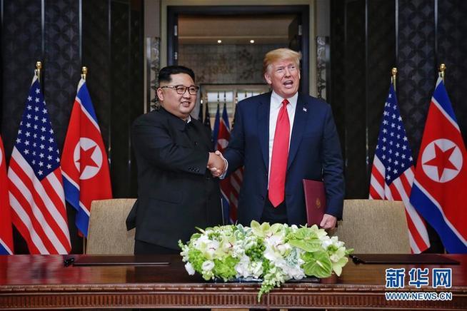 (XHDW)(2)朝美領導人簽署聯合聲明 確定半島無核和平目標
