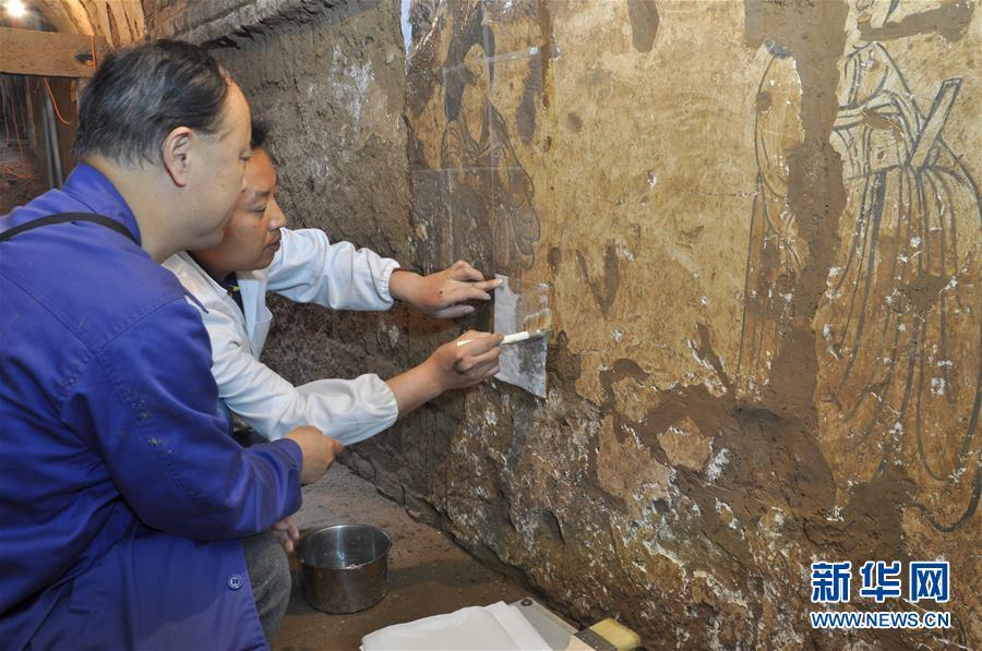 (圖文互動)(1)陜西:唐墓壁畫修復再現唐代生活場景