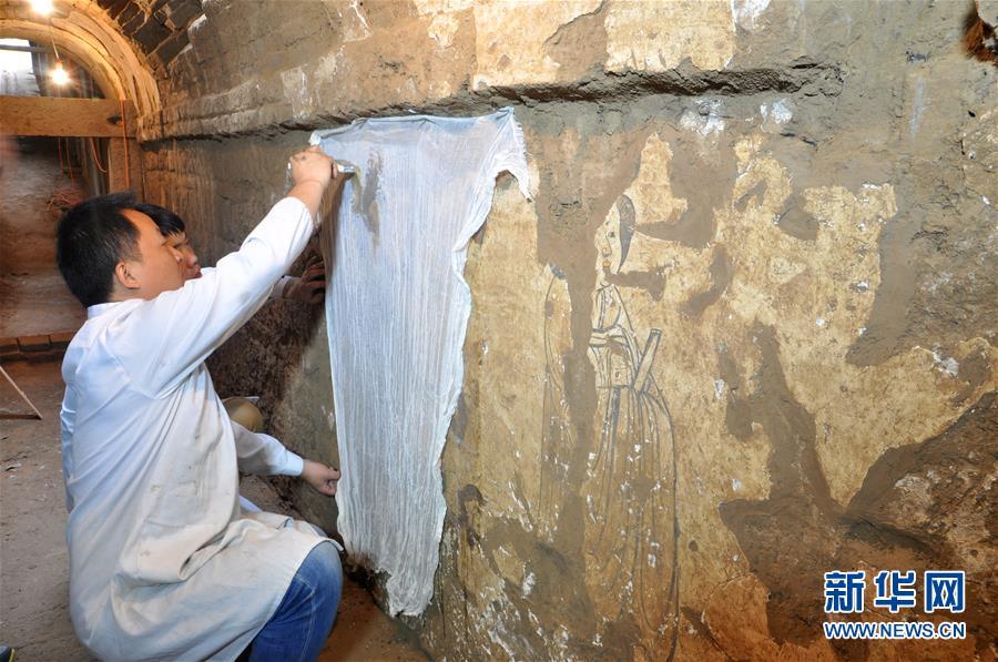 (圖文互動)(2)陜西:唐墓壁畫修復再現唐代生活場景