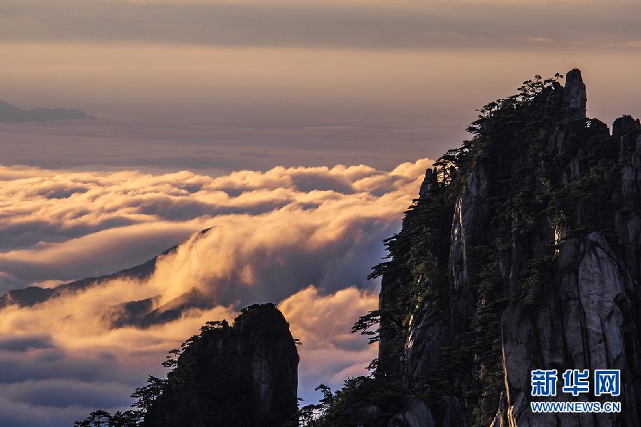 7月14日,在安徽黄山风景区拍摄的日出云海景观.新华网发(水从泽 摄)