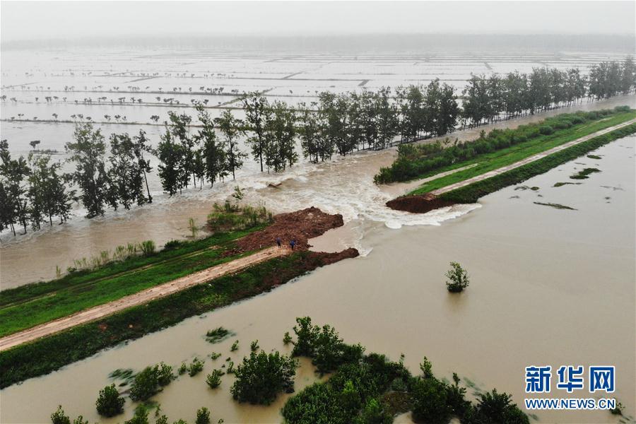 (防汛抗洪·圖文互動)(1)安徽滁河實施爆破泄洪 啟用兩處蓄洪區
