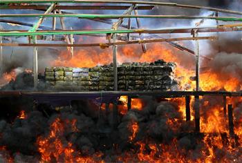 國際禁毒日緬甸公開銷毀毒品