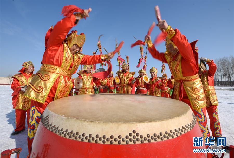 (文化)(1)河北隆堯:招子鼓展演迎新春