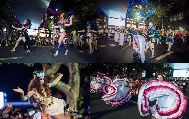 上海旅游节来了,各色花车巡游淮海路