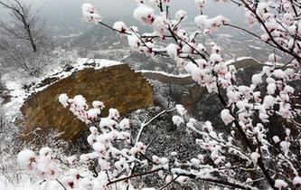 北京:春雪映長城