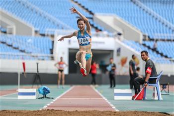 安徽選手陳婷奪得女子三級跳遠冠軍