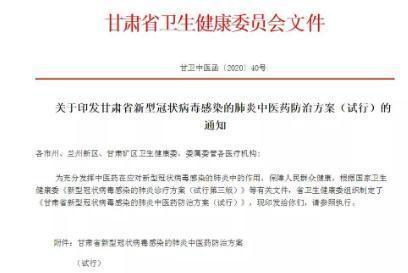 甘肅發布新型冠狀病毒感染的肺炎中醫藥防治方案
