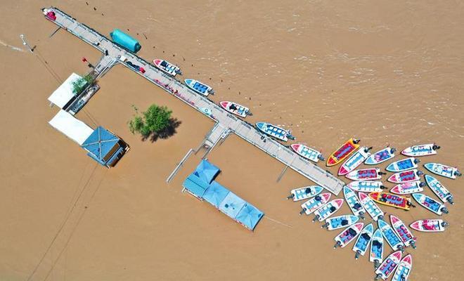 持續降雨致黃河蘭州段水位上漲