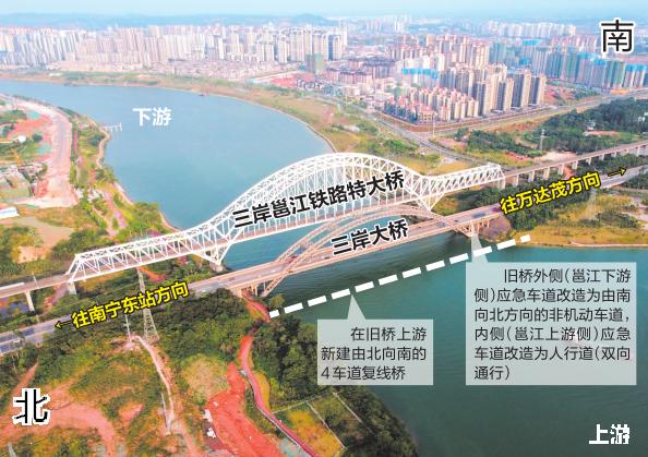 三岸大橋將由4車道改造成8車道 預留非機動車道