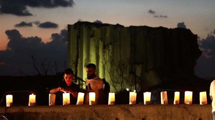燭光祈福貝魯特港口區爆炸傷亡和失蹤人員