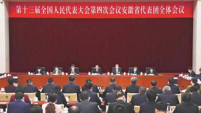 十三屆全國人大四次會議安徽代表團舉行全體會議