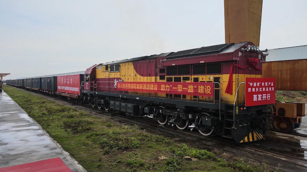 """廣西開行""""中越老""""農資産品跨境多式聯運班列"""
