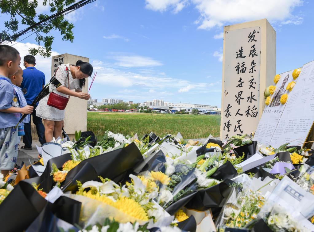海南三亞:群眾悼念袁隆平
