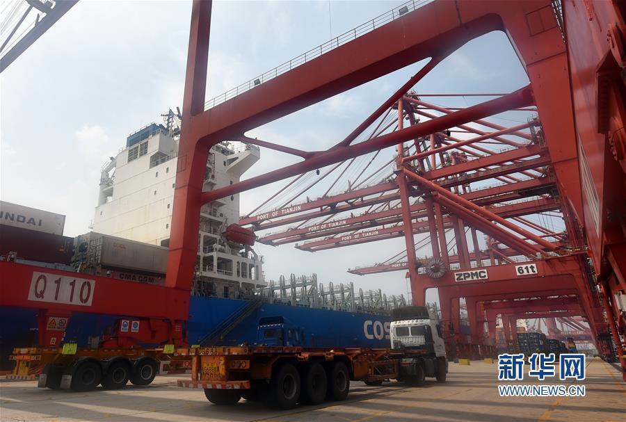 """(經濟)(2)天津海關:""""船邊直提""""模式助力貨物通關提速"""