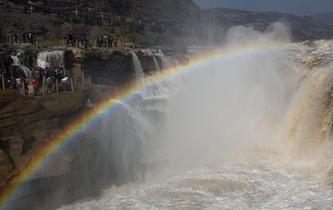 黃河壺口瀑布彩虹高挂