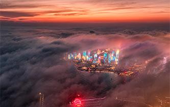 青島現平流霧美景