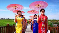甘肅戈壁濕地公園上演旗袍秀展示傳統美