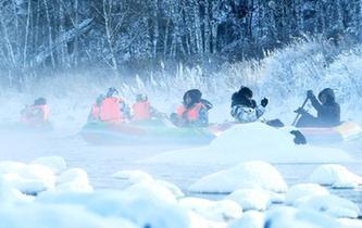 """內蒙古冰天雪地的""""不凍河"""""""